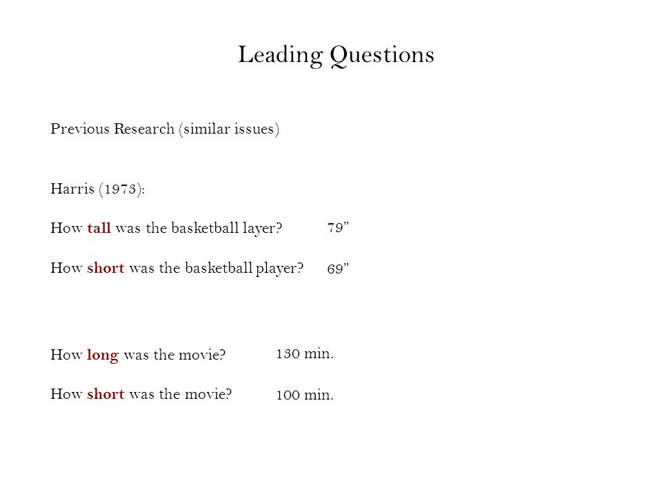 Leading Questions Previous Research (similar issues) Harris (1973): How tall was the basketball layer.