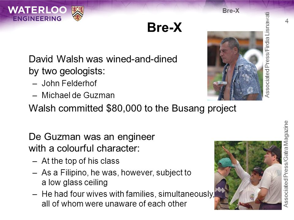 Bre-X: 1994 First they had to partner with an Indonesian –They found Sigit Hardjojudanto, Suhartos son They began to find gold –Early 1994: 2 million oz –Mid 1994: 3 million oz –Late 1994: 8 million oz Stocks were trading at $2.05 5 Bre-X User: PHGCOM