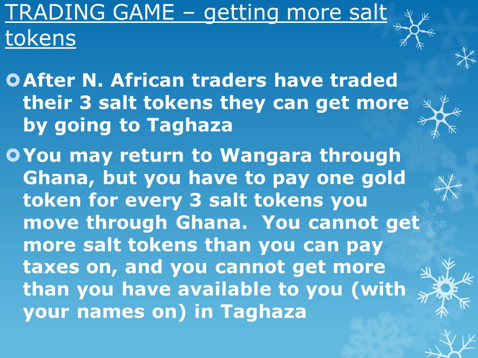 TRADING GAME – getting more salt tokens After N.
