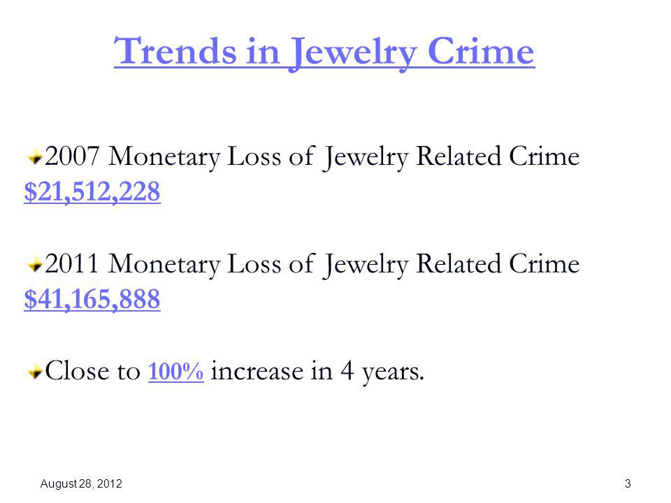 Trends in Jewelry Crime 2007 Monetary Loss of Jewelry Related Crime $21,512,228 2011 Monetary Loss of Jewelry Related Crime $41,165,888 Close to 100%