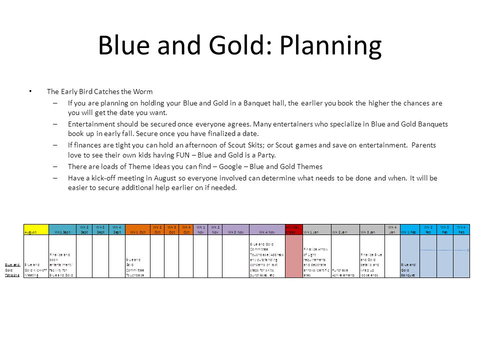 Blue and Gold: Planning The Early Bird Catches the Worm – If you are planning on holding your Blue and Gold in a Banquet hall, the earlier you book the higher the chances are you will get the date you want.