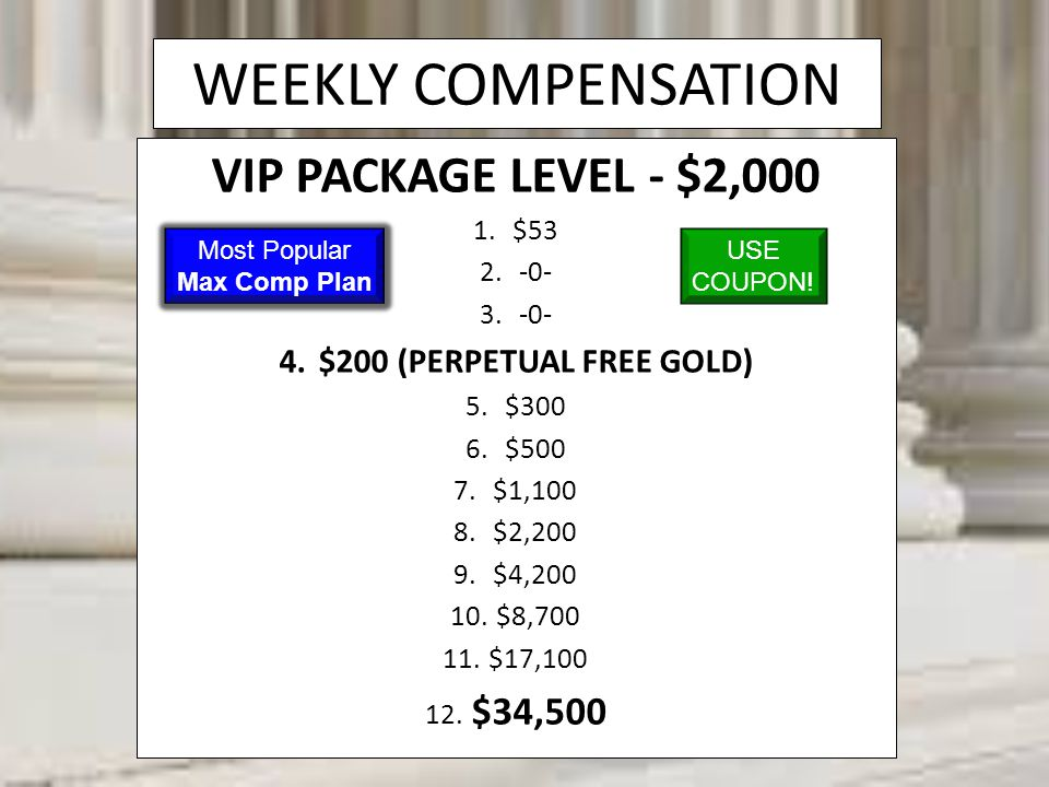 WEEKLY COMPENSATION VIP PACKAGE LEVEL - $2,000 1.$53 2.-0- 3.-0- 4.$200 (PERPETUAL FREE GOLD) 5.$300 6.$500 7.$1,100 8.$2,200 9.$4,200 10. $8,700 11.