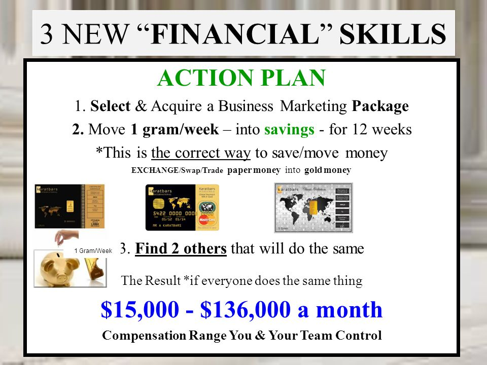 3 NEW FINANCIAL SKILLS ACTION PLAN 1. Select & Acquire a Business Marketing Package 2. Move 1 gram/week – into savings - for 12 weeks *This is the cor