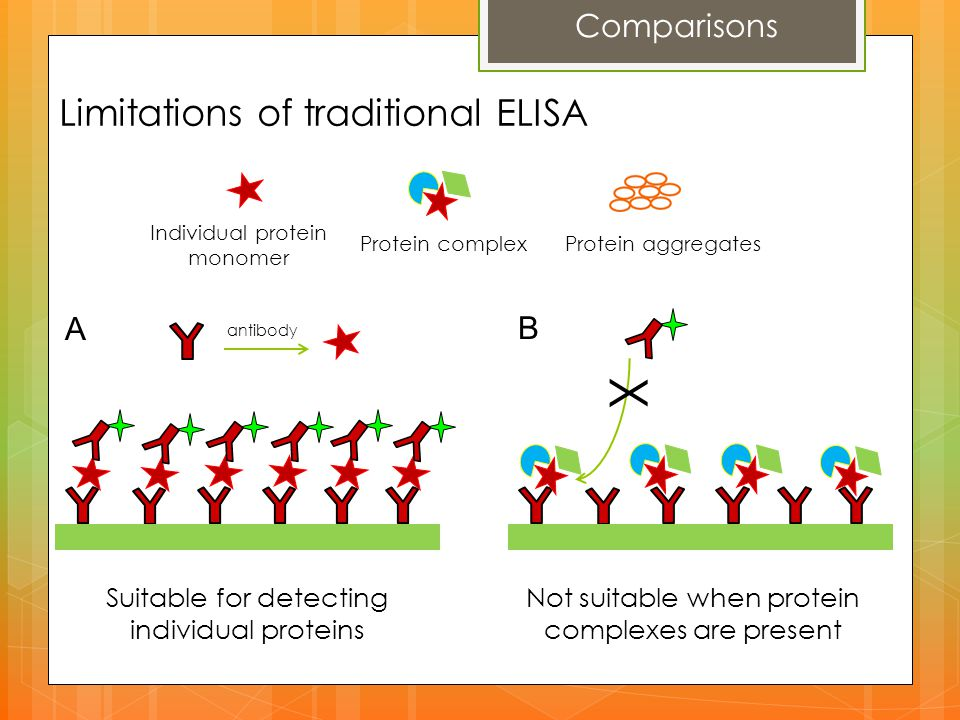 X Individual protein monomer Protein complex Protein aggregates A B Limitations of traditional ELISA Comparisons Suitable for detecting individual pro