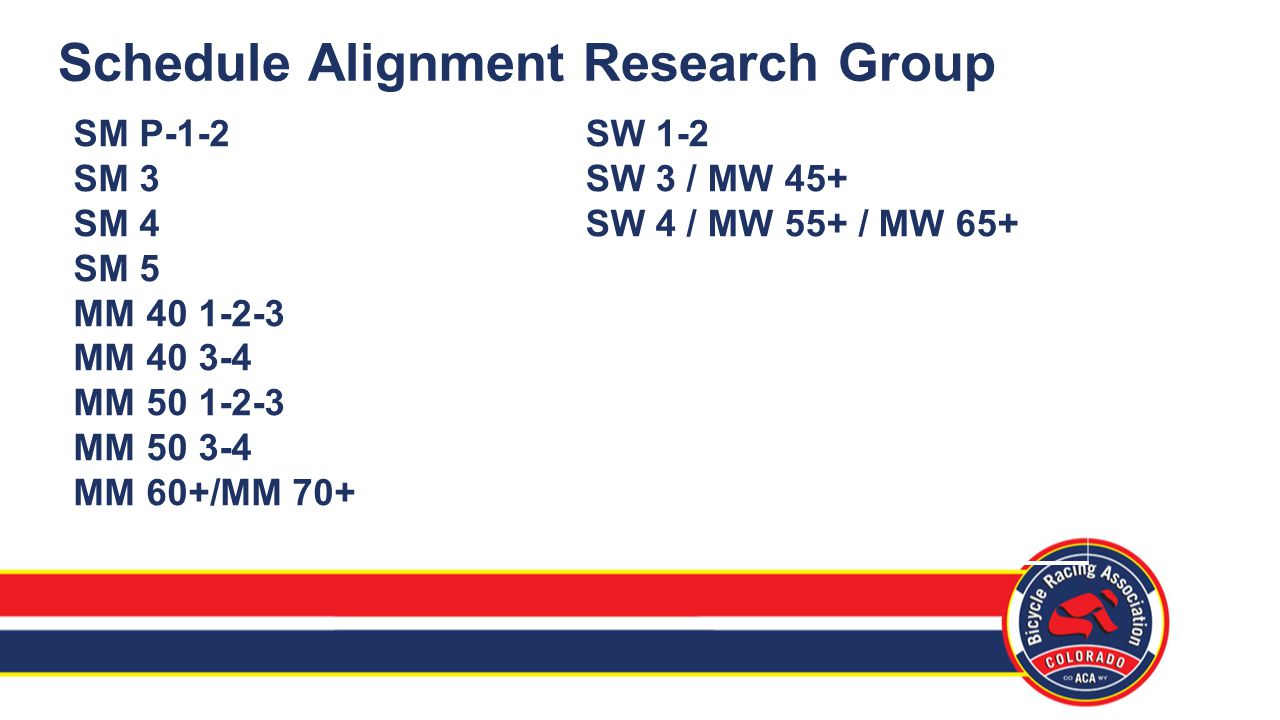 Schedule Alignment Research Group SM P-1-2 SM 3 SM 4 SM 5 MM 40 1-2-3 MM 40 3-4 MM 50 1-2-3 MM 50 3-4 MM 60+/MM 70+ SW 1-2 SW 3 / MW 45+ SW 4 / MW 55+