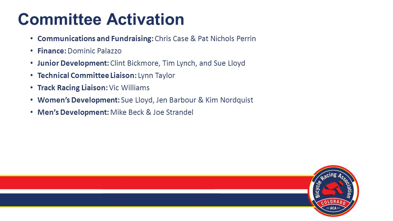 Committee Activation Communications and Fundraising: Chris Case & Pat Nichols Perrin Finance: Dominic Palazzo Junior Development: Clint Bickmore, Tim