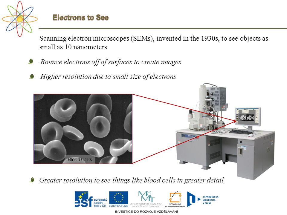 Scanning electron microscopes (SEMs), invented in the 1930s, to see objects as small as 10 nanometers Bounce electrons off of surfaces to create image