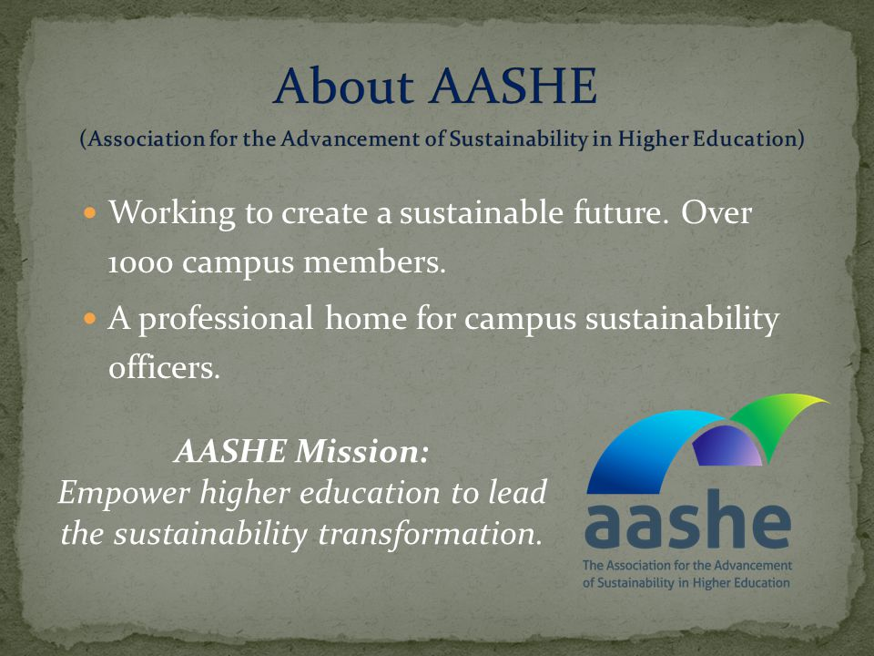 Working to create a sustainable future. Over 1000 campus members.