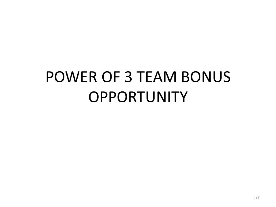 POWER OF 3 TEAM BONUS OPPORTUNITY 51