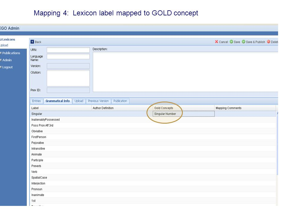 Mapping 4: Lexicon label mapped to GOLD concept