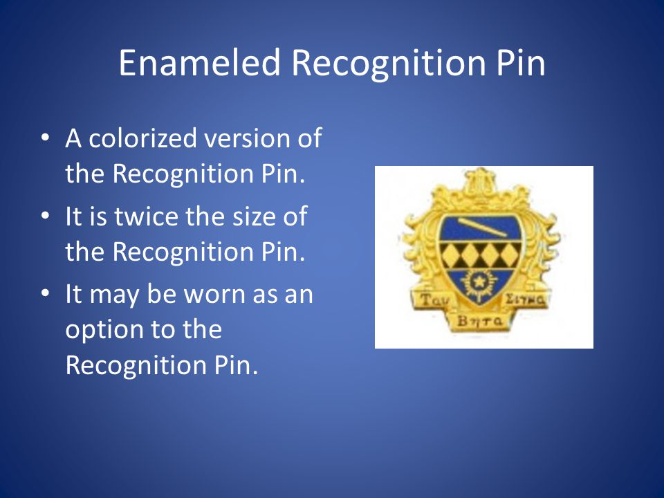 Enameled Recognition Pin A colorized version of the Recognition Pin.