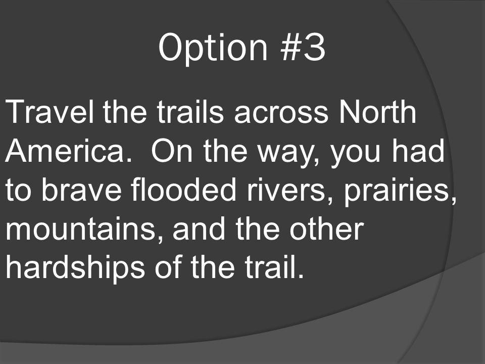 Option #3 Travel the trails across North America. On the way, you had to brave flooded rivers, prairies, mountains, and the other hardships of the tra