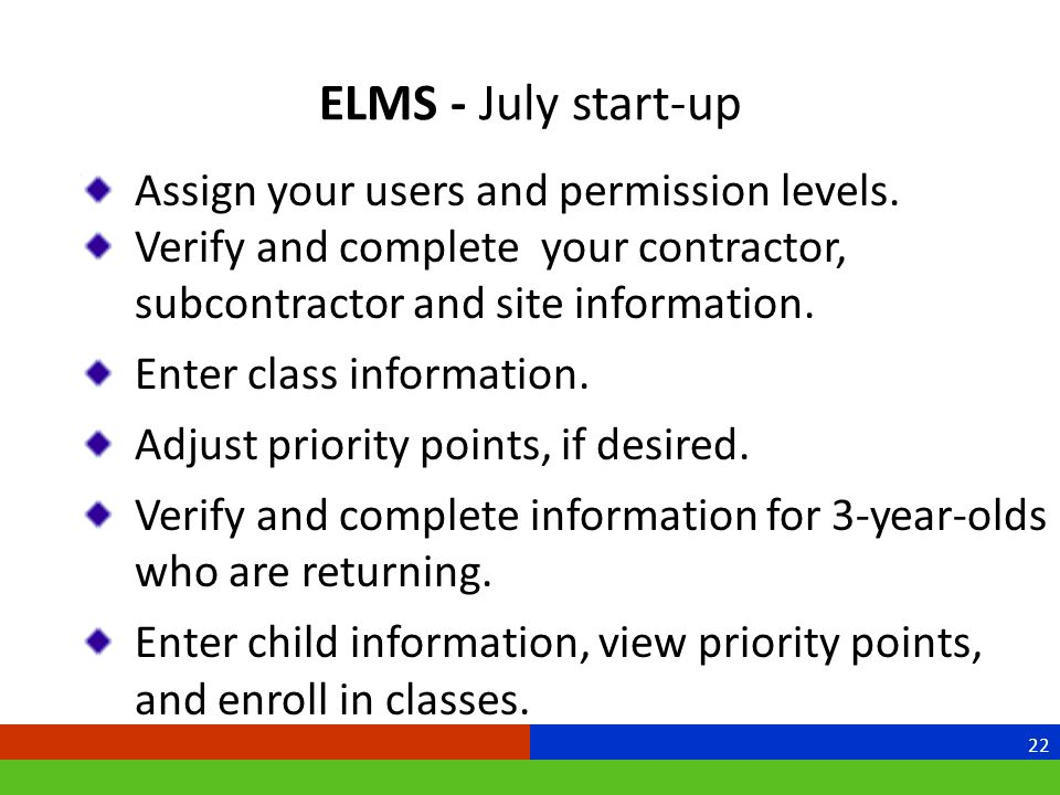 ELMS - July start-up Assign your users and permission levels.