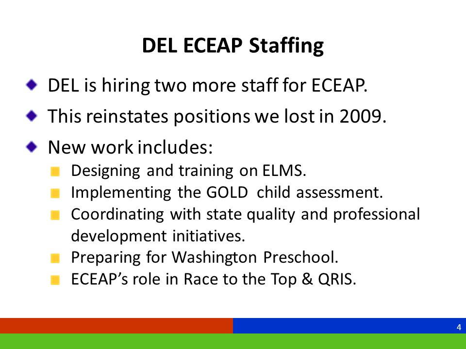 DEL ECEAP Staffing DEL is hiring two more staff for ECEAP.