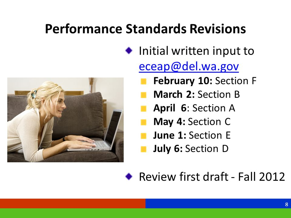 Initial written input to eceap@del.wa.gov eceap@del.wa.gov February 10: Section F March 2: Section B April 6: Section A May 4: Section C June 1: Section E July 6: Section D Review first draft - Fall 2012 Performance Standards Revisions 8