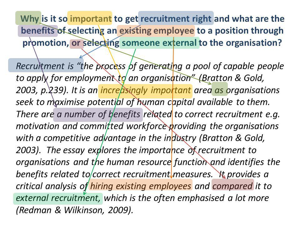 Why is it so important to get recruitment right and what are the benefits of selecting an existing employee to a position through promotion, or selecting someone external to the organisation.