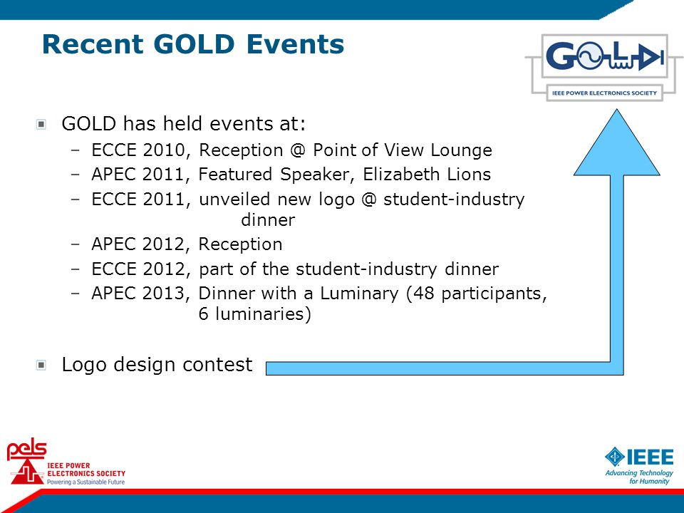 Recent GOLD Events GOLD has held events at: –ECCE 2010, Reception @ Point of View Lounge –APEC 2011, Featured Speaker, Elizabeth Lions –ECCE 2011, unv