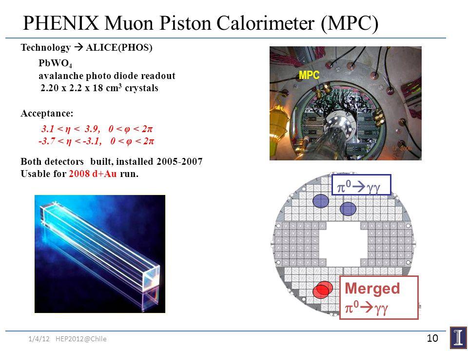 PHENIX Muon Piston Calorimeter (MPC) Technology ALICE(PHOS) PbWO 4 avalanche photo diode readout 2.20 x 2.2 x 18 cm 3 crystals Acceptance: 3.1 < η < 3