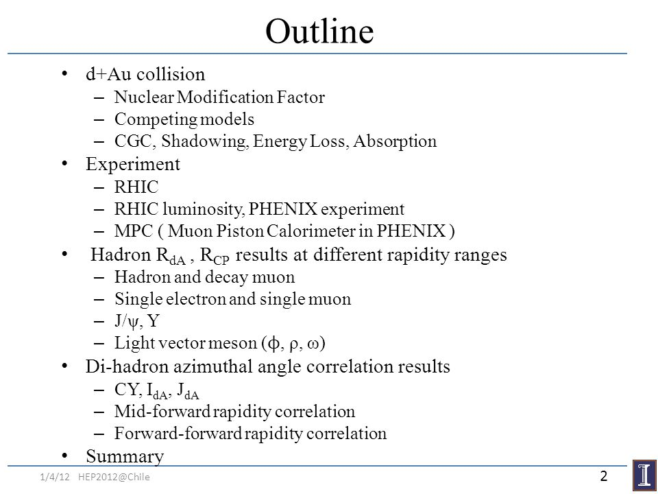 Outline d+Au collision – Nuclear Modification Factor – Competing models – CGC, Shadowing, Energy Loss, Absorption Experiment – RHIC – RHIC luminosity,