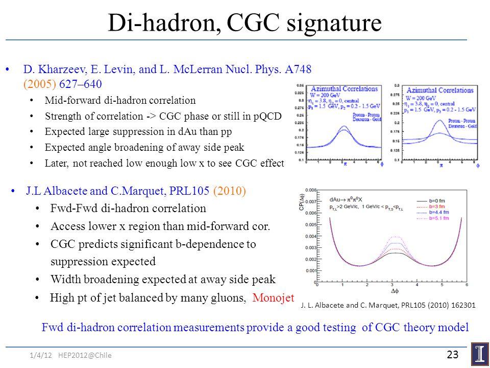 J. L. Albacete and C. Marquet, PRL105 (2010) 162301 Di-hadron, CGC signature D. Kharzeev, E. Levin, and L. McLerran Nucl. Phys. A748 (2005) 627–640 Mi