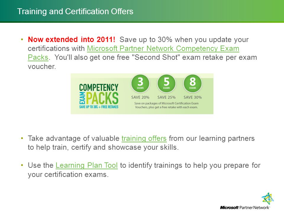 Training and Certification Offers Now extended into 2011.