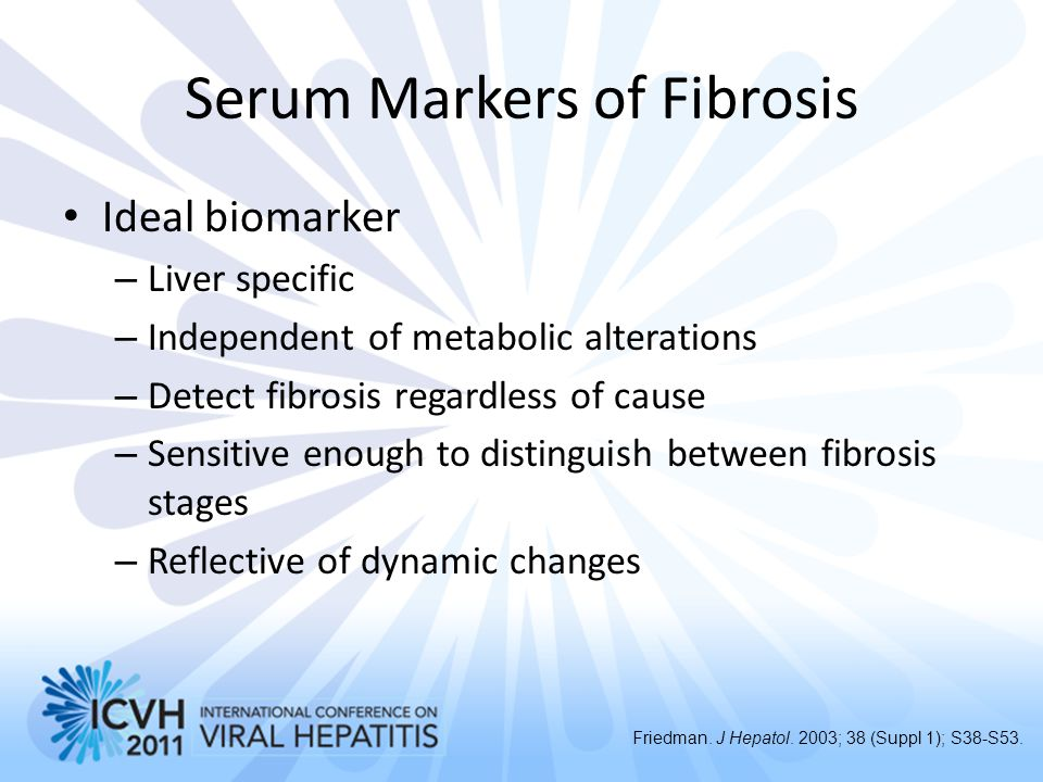 Serum Markers of Fibrosis Ideal biomarker – Liver specific – Independent of metabolic alterations – Detect fibrosis regardless of cause – Sensitive en