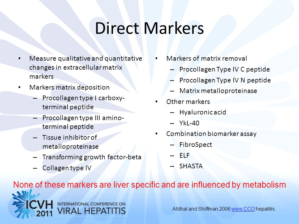 Direct Markers Measure qualitative and quantitative changes in extracellular matrix markers Markers matrix deposition – Procollagen type I carboxy- te