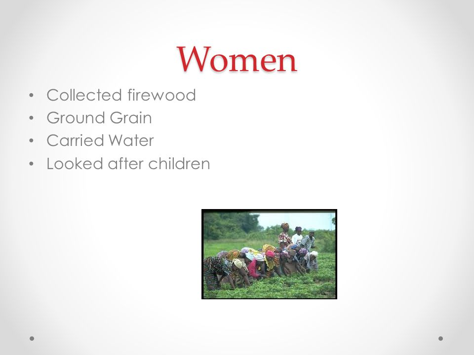 Women Collected firewood Ground Grain Carried Water Looked after children