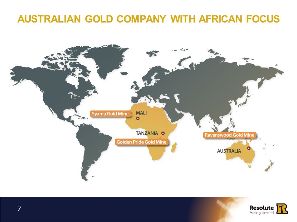 NOBLE MINERAL RESOURCES ADVANCED GHANA GOLD PROJECT 18 Resolute acquired a ~20% stake in Noble and backed a A$85M financing package in Nov 2012 Noble owns the Bibiani gold mine in Ghana 2.8Moz Mineral Resources, 3Mtpa CIL processing facility and +4Moz of gold produced to date Noble entered Voluntary Administration in September Operations currently suspended, mine plan under review and U/G feasibility study planned in next steps Resolute continues to believe in underlying value and significant future potential of Bibiani Resolute as the major external creditor / key stakeholder will work with Administrator to ensure value driven outcome A strategic investment by Resolute in an advanced West African gold project