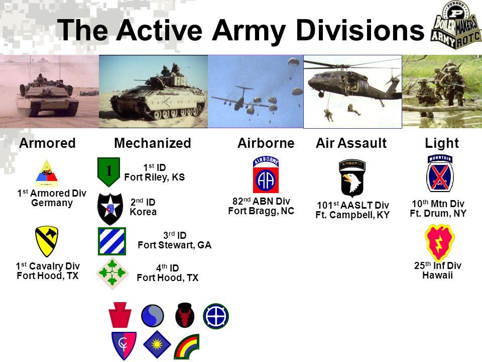 The Active Army Divisions ArmoredMechanizedAirborneAir AssaultLight 1 1 OLD IRONSIDES 1 st ID Fort Riley, KS 2 nd ID Korea 3 rd ID Fort Stewart, GA 4