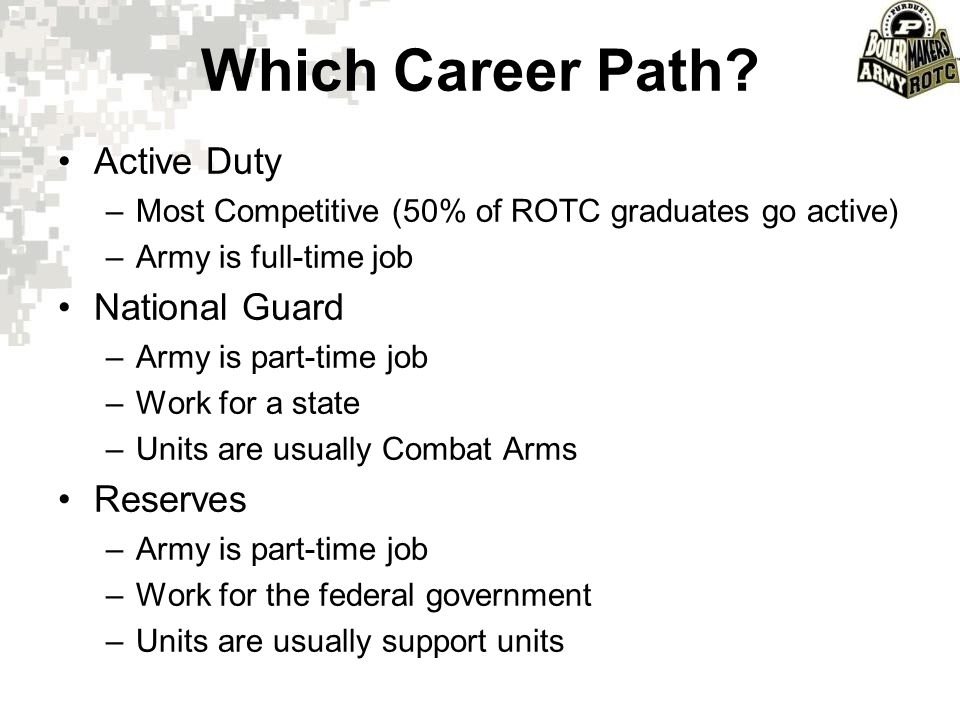 Which Career Path? Active Duty –Most Competitive (50% of ROTC graduates go active) –Army is full-time job National Guard –Army is part-time job –Work