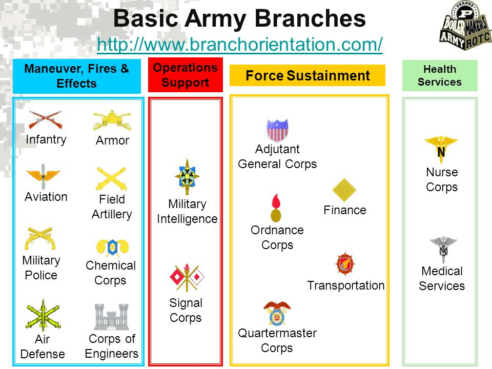 Force Sustainment Basic Army Branches http://www.branchorientation.com/ Maneuver, Fires & Effects Operations Support Infantry Armor Aviation Field Art