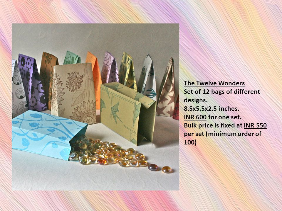 The Twelve Wonders Set of 12 bags of different designs.