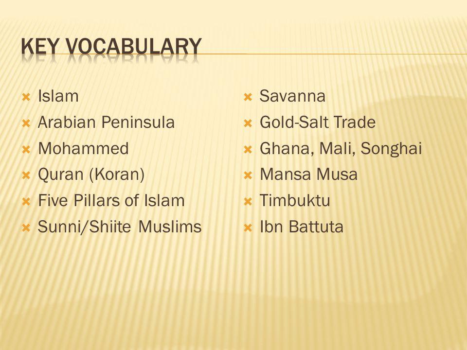 Islam Arabian Peninsula Mohammed Quran (Koran) Five Pillars of Islam Sunni/Shiite Muslims Savanna Gold-Salt Trade Ghana, Mali, Songhai Mansa Musa Timbuktu Ibn Battuta