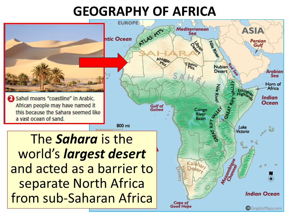 GEOGRAPHY OF AFRICA The Sahara is the worlds largest desert and acted as a barrier to separate North Africa from sub-Saharan Africa