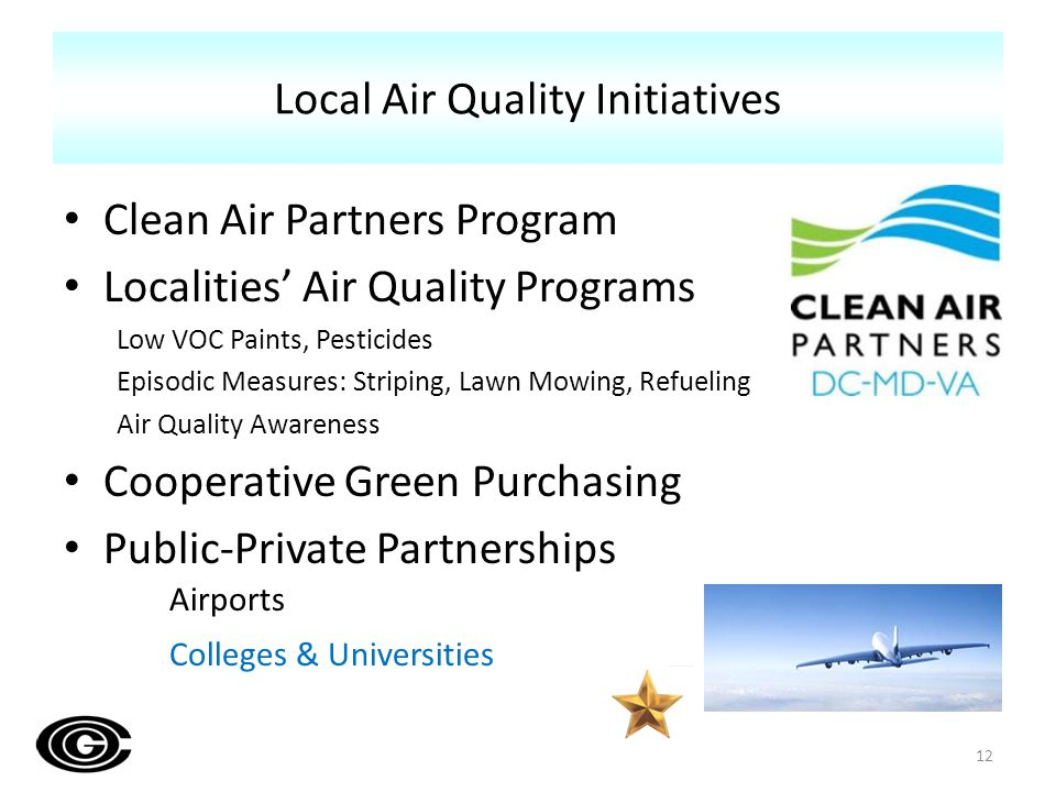 Clean Air Partners Program Localities Air Quality Programs Low VOC Paints, Pesticides Episodic Measures: Striping, Lawn Mowing, Refueling Air Quality Awareness Cooperative Green Purchasing Public-Private Partnerships Airports Colleges & Universities Local Air Quality Initiatives 12