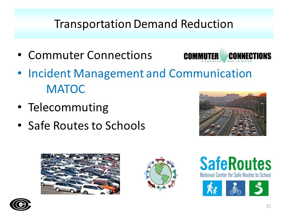 Commuter Connections Incident Management and Communication MATOC Telecommuting Safe Routes to Schools Transportation Demand Reduction 15