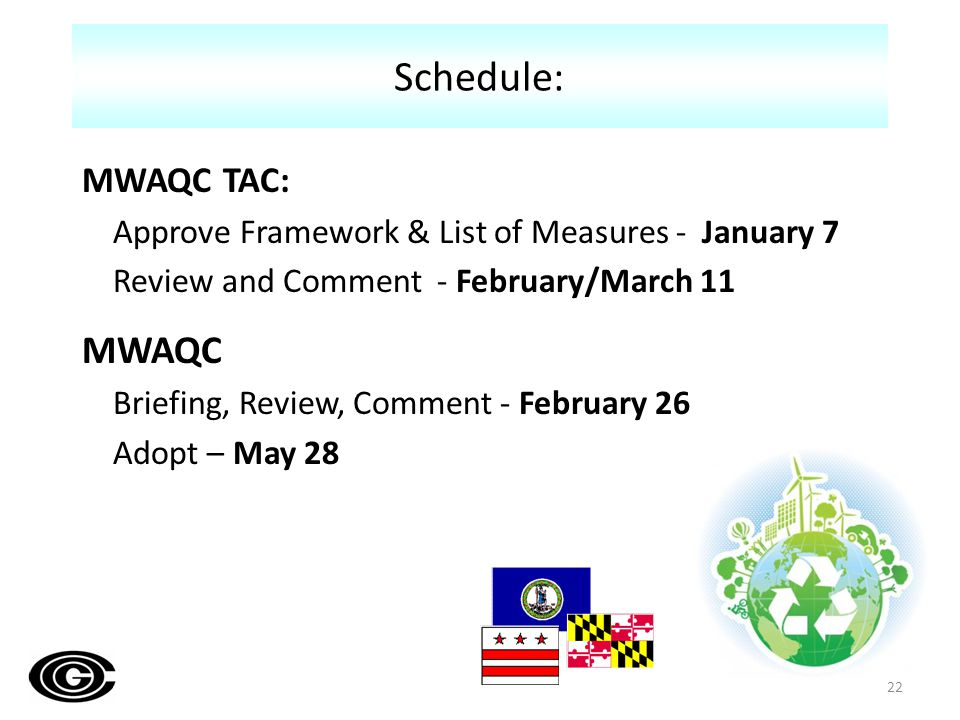MWAQC TAC: Approve Framework & List of Measures - January 7 Review and Comment - February/March 11 MWAQC Briefing, Review, Comment - February 26 Adopt – May 28 Schedule: 22