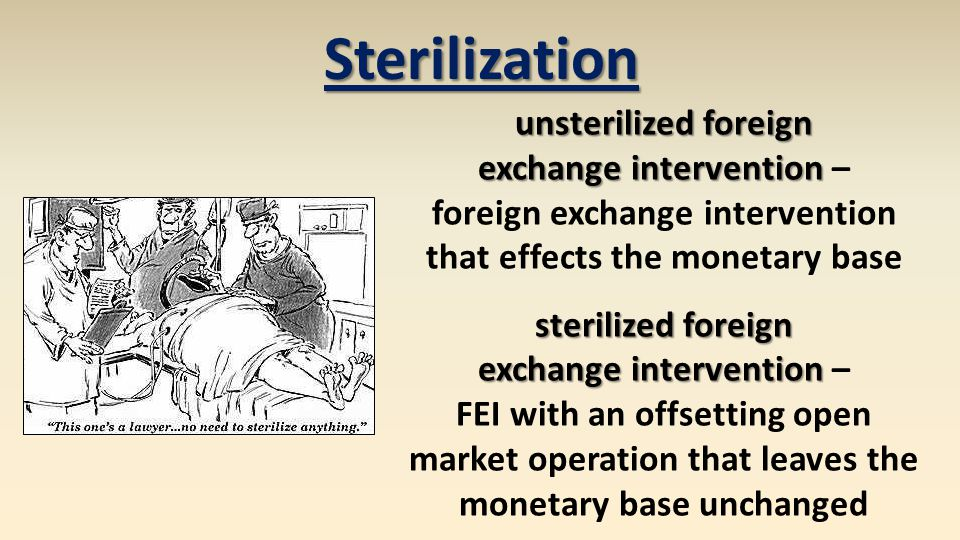 Sterilization unsterilized foreign exchange intervention exchange intervention – foreign exchange intervention that effects the monetary base sterilized foreign exchange intervention exchange intervention – FEI with an offsetting open market operation that leaves the monetary base unchanged