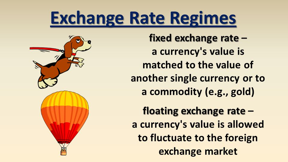 Exchange Rate Regimes fixed exchange rate fixed exchange rate – a currency s value is matched to the value of another single currency or to a commodity (e.g., gold) floating exchange rate floating exchange rate – a currency s value is allowed to fluctuate to the foreign exchange market