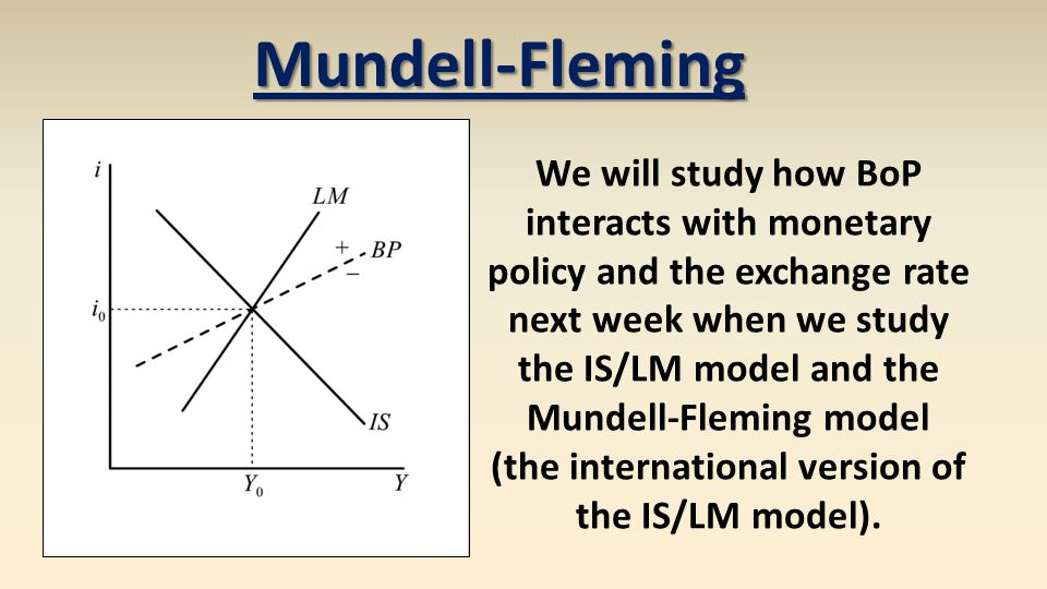 Mundell-Fleming We will study how BoP interacts with monetary policy and the exchange rate next week when we study the IS/LM model and the Mundell-Fleming model (the international version of the IS/LM model).