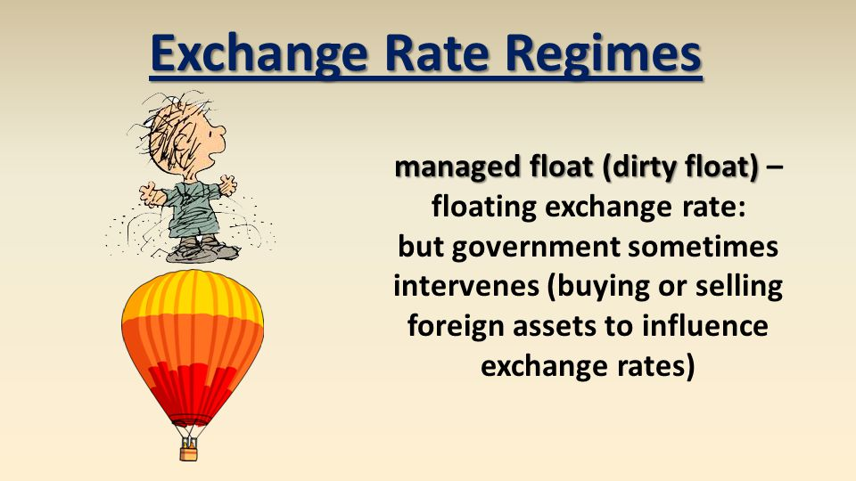 managed float (dirty float) managed float (dirty float) – floating exchange rate: but government sometimes intervenes (buying or selling foreign assets to influence exchange rates) Exchange Rate Regimes