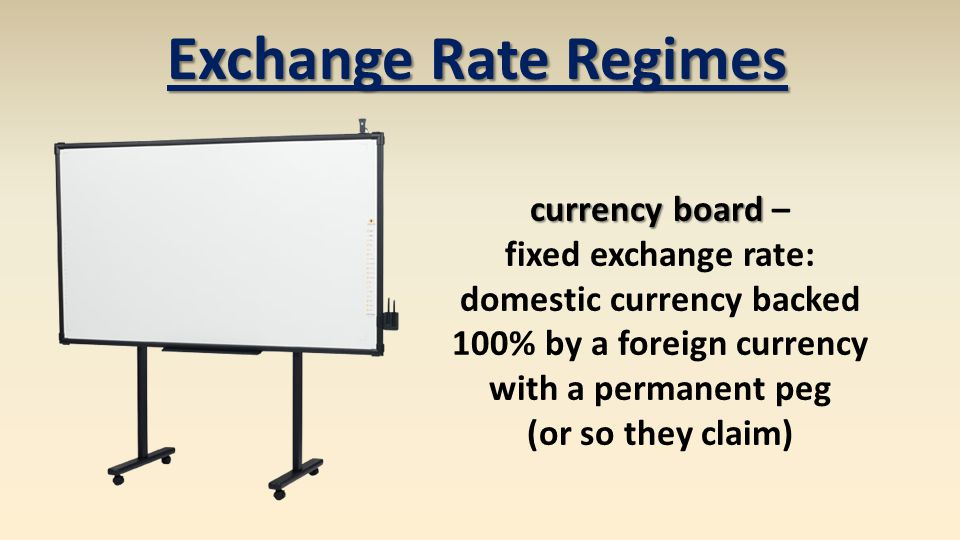 currency board currency board – fixed exchange rate: domestic currency backed 100% by a foreign currency with a permanent peg (or so they claim) Exchange Rate Regimes
