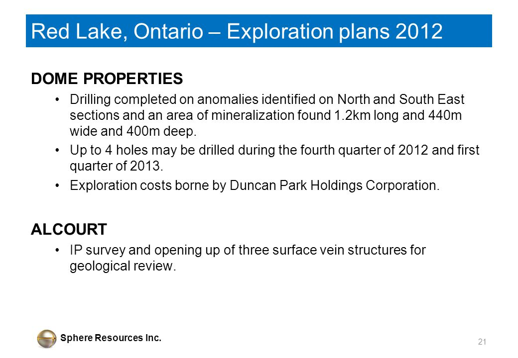 Sphere Resources Inc. Red Lake, Ontario – Exploration plans 2012 DOME PROPERTIES Drilling completed on anomalies identified on North and South East se