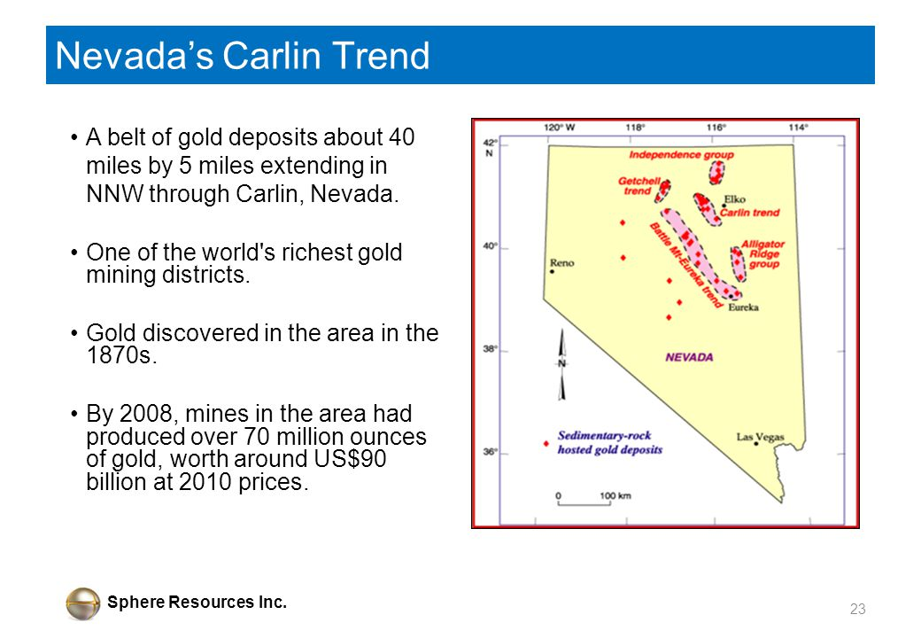 Sphere Resources Inc. Nevadas Carlin Trend A belt of gold deposits about 40 miles by 5 miles extending in NNW through Carlin, Nevada. One of the world