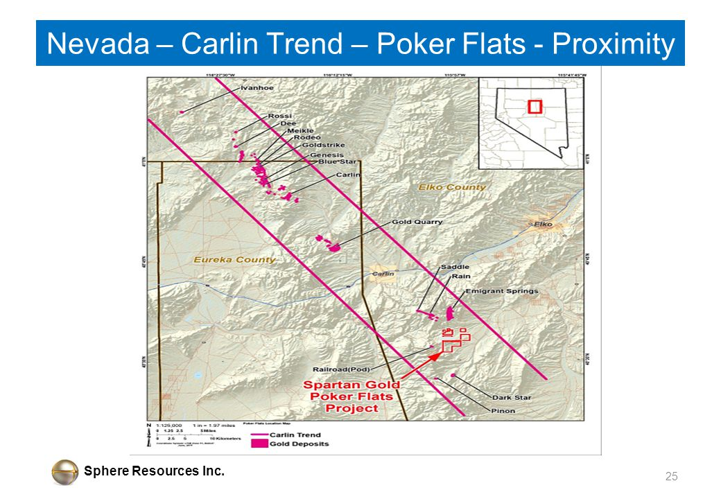 Sphere Resources Inc. 25 Nevada – Carlin Trend – Poker Flats - Proximity