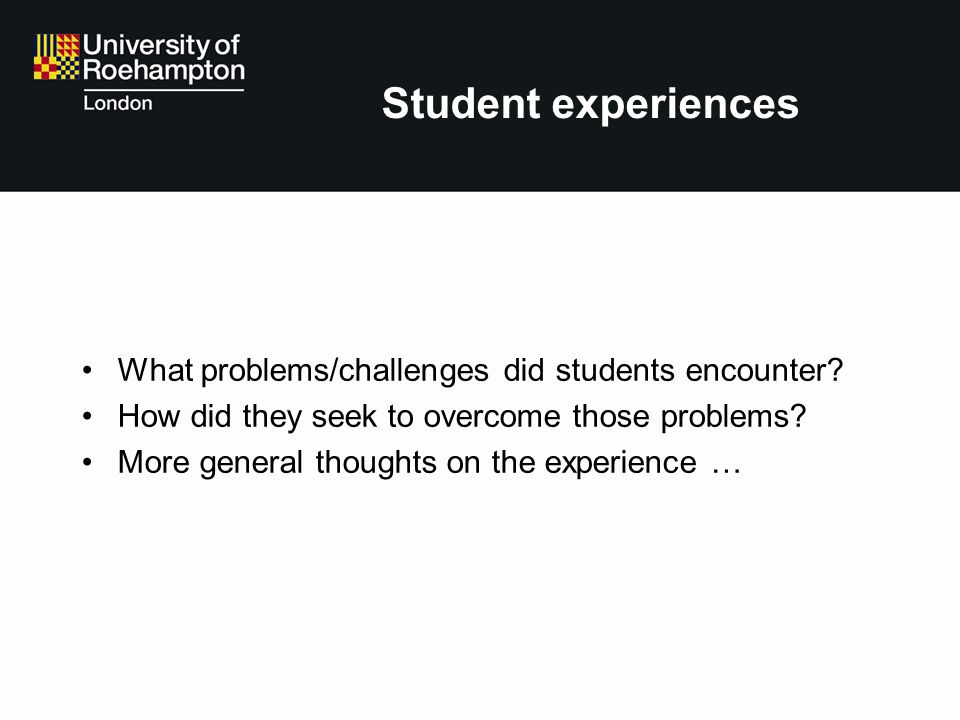 Student experiences What problems/challenges did students encounter? How did they seek to overcome those problems? More general thoughts on the experi
