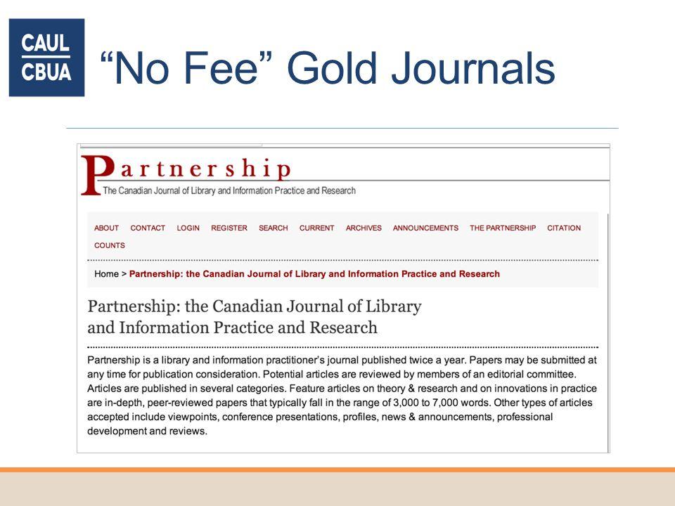 No Fee Gold Journals