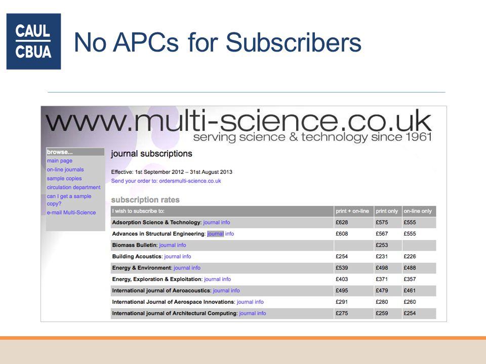 No APCs for Subscribers