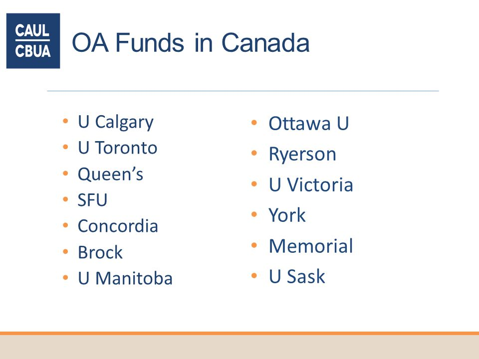OA Funds in Canada U Calgary U Toronto Queens SFU Concordia Brock U Manitoba Ottawa U Ryerson U Victoria York Memorial U Sask